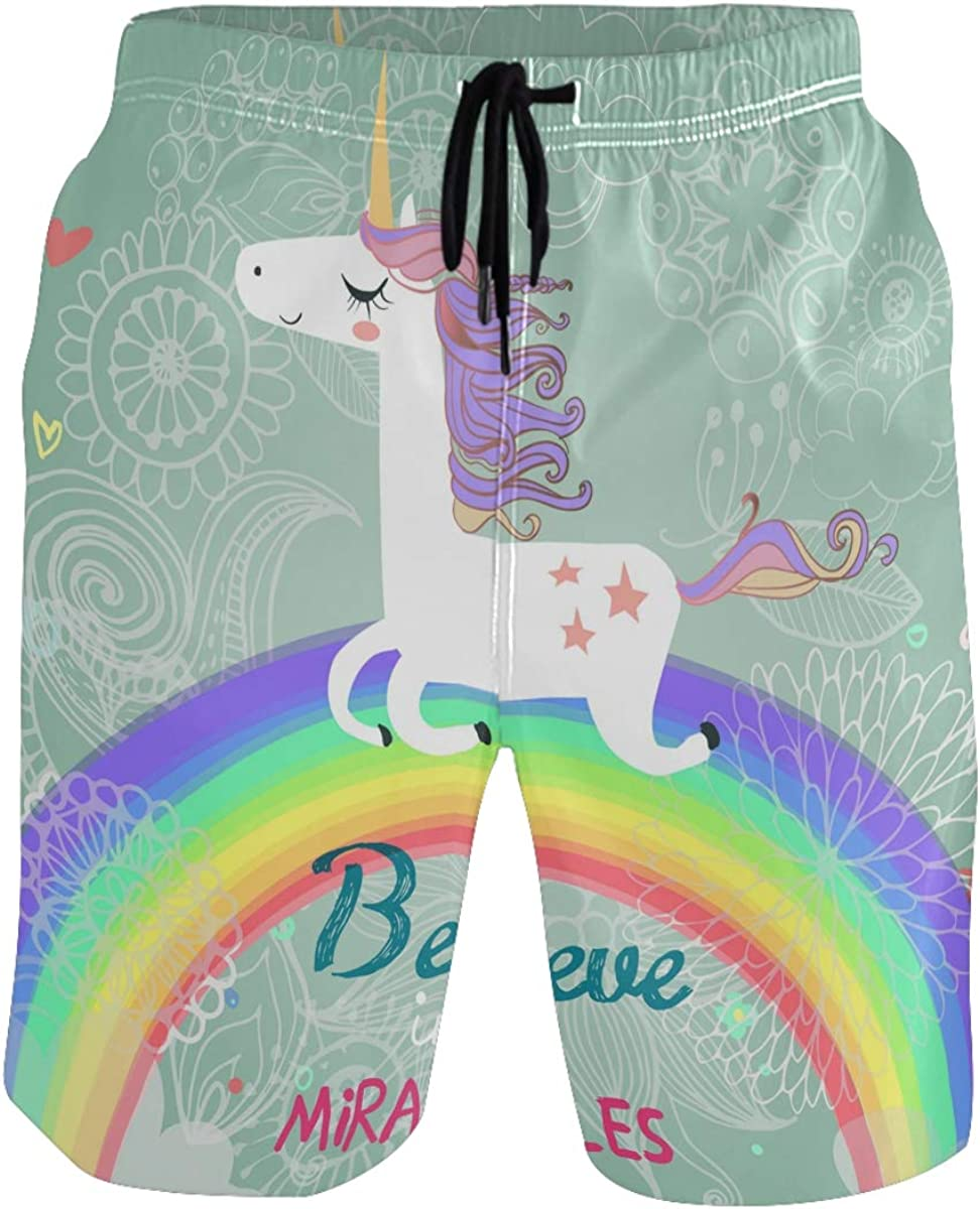 WIHVE Mens Swim Trunks Unicorn Anchor Quick Dry Beach Board Shorts with Mesh Lining