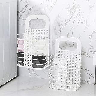 ランドリーバスケット 洗濯かご 折りたたみ3cm 空間節約 持ち運び便利 収納便利 キッチン収納持ち手付き プラスチック製 壁掛け収納 強力粘着フック付き