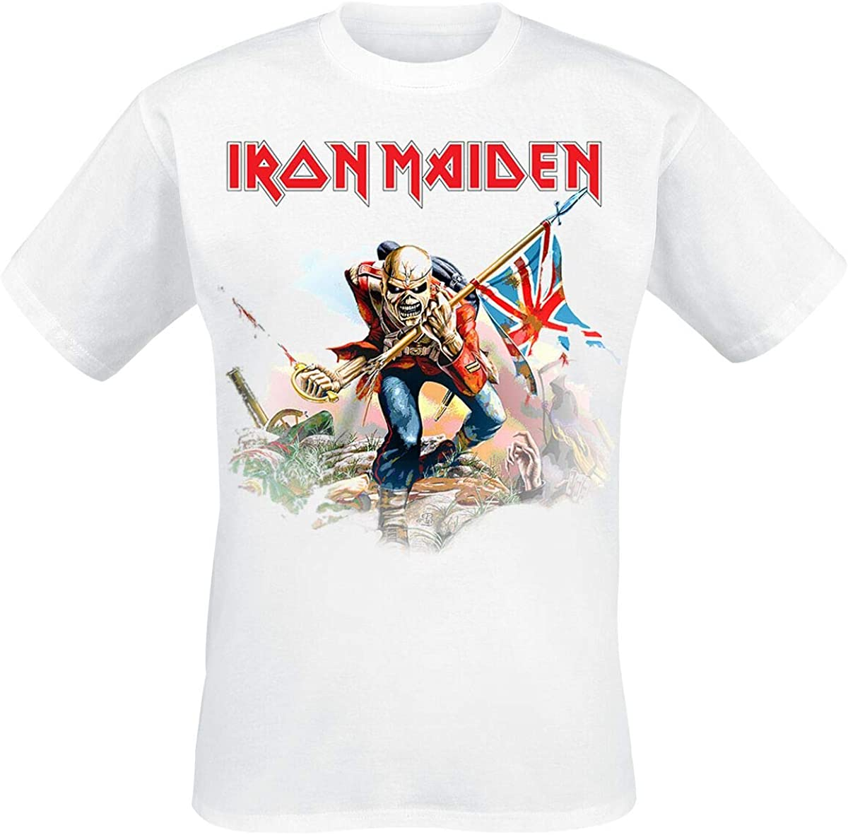 Iron Maiden Trooper On White Hombre Camiseta Blanco, Regular