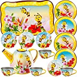 alles-meine.de GmbH 15 TLG. Set _ Puppengeschirr / Teeservice & Kaffeeservice - süße Bienen & Tiere - Tablett & Geschirr aus Blech - Metall - Blechgeschirr - Kinderküche - Pickni..