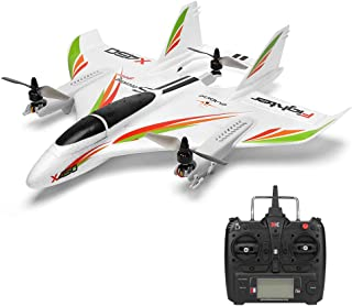 iuockg RC Glider Helicopters Airplane Aircraft, X450 6CH 3D/6G Vertical Takeoff Land Delta Wing RC Glider for Age 14+ Kids Adults Beginners (White)