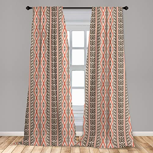 """Ambesonne Southwestern Curtains, Traditional Vertical Borders Inspired by Prehistoric Art Ikat Style, Window Treatments 2 Panel Set for Living Room Bedroom Decor, 56"""" x 63"""", Brown Coral"""