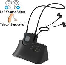Avantree Digital Wireless Headphones Set for TV Watching for Seniors & Hearing Impaired, High Volume Left, Right Ear Balance, Awareness Monitor, Hearing Aids Earbuds Support via Telecoil - HT380