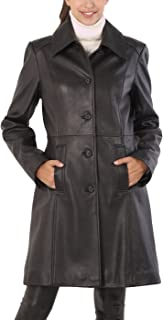 Women's Amber Lambskin Leather Walking Coat (Regular and Plus Size and Short)