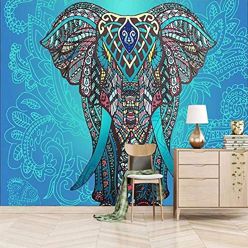 Posters Para Pared Animal Elefante Azul 250x175cm/98.5x69In(Wxh) Pared De Fondo De Tv Mural Sala De Estar Dormitorio Pared De Papel Pintado A Papel Pintado Pared Mural No Tejido