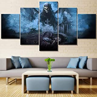 Wall art picture living room home decoration canvas 5 pieces of vengeful seven-color painting HD printing movie game poste...