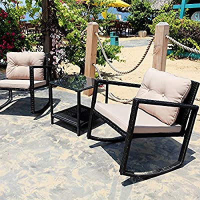 M&W 3 Piece Patio Rocking Chair Set, PE Wicker Rattan Outdoor Furniture Bistro Set, 2 Cushioned Chairs and 1 Coffee Table with Tempered Glass Top for Garden, Backyard, Porch, Balcony, Lawn, Poolside