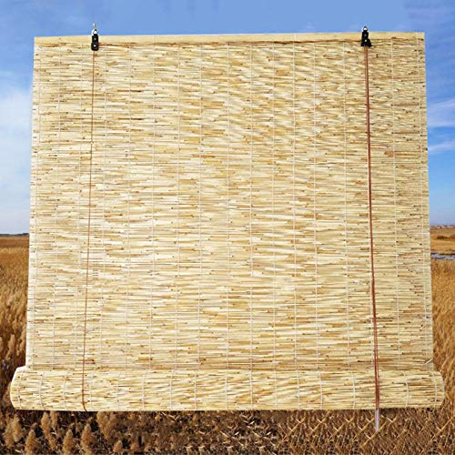 """T&P Natural Reed CurtainRoller Blinds-Bamboo Shades-Roll-up Reed Shade,Sunshade/Eco/Waterproof, for Outdoor/Patio/Door/Window Decorative Curtains, 25"""" W × 60"""" L,35"""" W × 70"""" L,45"""" W ×75"""" L"""