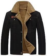 JEKAOYI Men's Vintage Casual Button-Front Slim Fit Cotton Jacket Warm Fur Collar Winter Coat