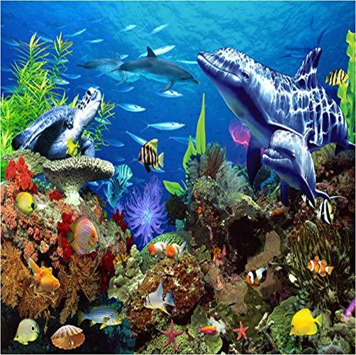 3D Murales Papel Pintado Pared Calcomanías Decoraciones Tortuga Marina Animal Submarina Habitación...
