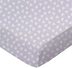 product image for SheetWorld Fitted Bassinet Sheet - Hearts Pastel Lavender Woven - Made In USA