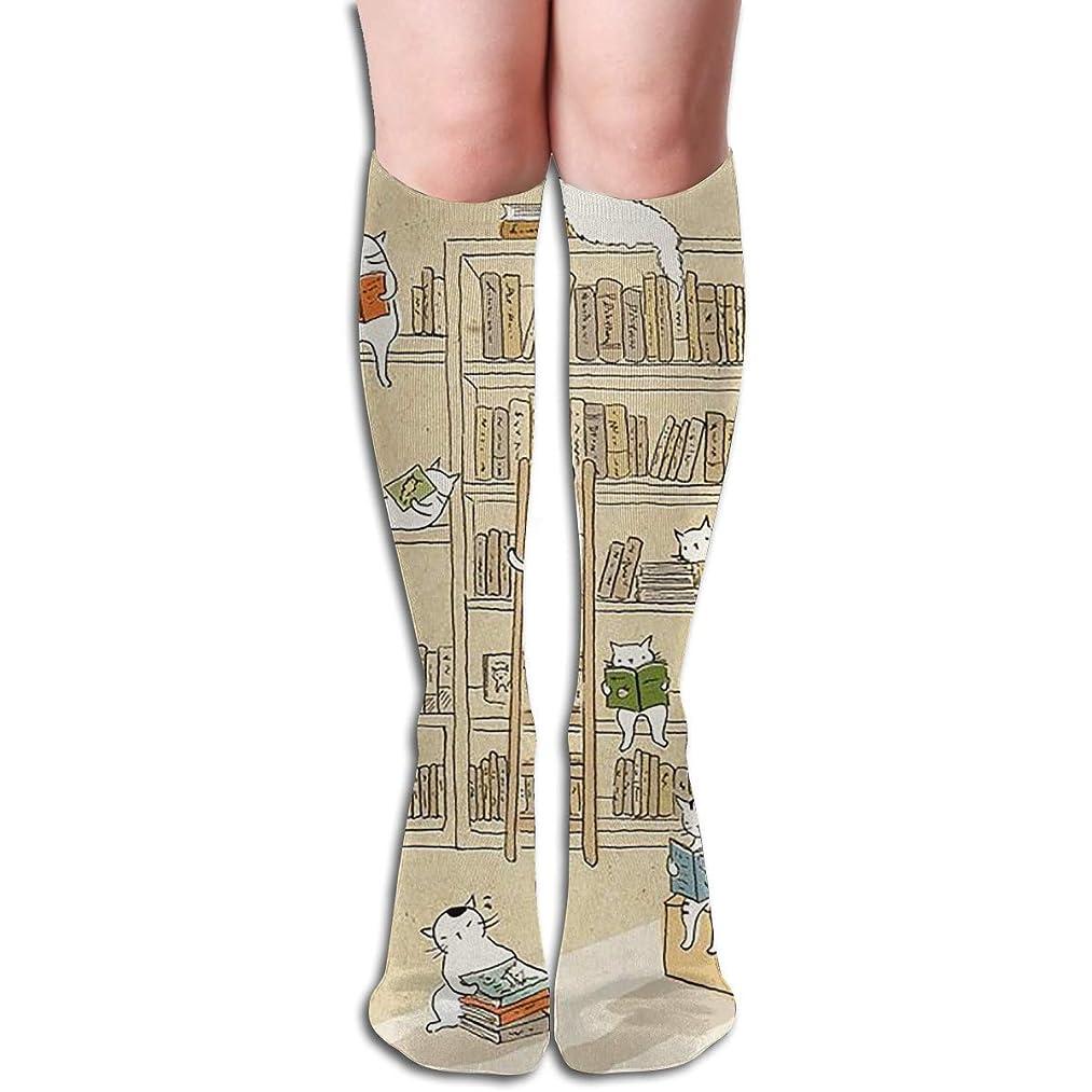 賠償超音速軽くqrriyノベルティデザインクルーソックス、ノベルティブック猫、クリスマス休暇クレイジー楽しいカラフルな派手な靴下、冬暖かいストレッチクルーソックス