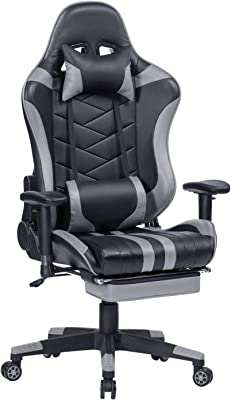 HEALGEN Reclining Gaming Chair with Retractable Footrest,Racing Style PC Computer Gamer Chair,High