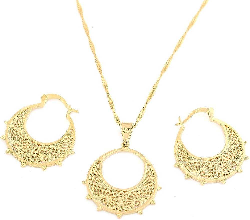 Ethiopian Jewelry Set Pendant Chain Earring Jewelry Eritrea Habesha Party African