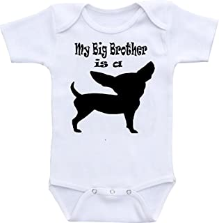 Wonder Labs My Big Brother is A Chihuahua Dog Funny Baby Onesie Bodysuit