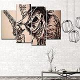 Pintura en lienzo con diseño de calavera y pistolas de 4 piezas para pared,...