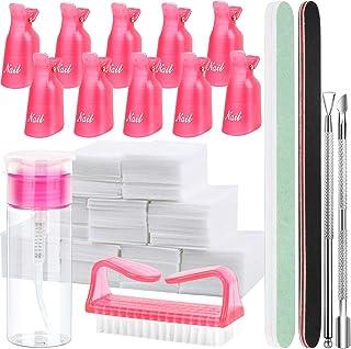 FANDAMEI Nail Polish Gel Remover Tools Kit with Nail Clips, 100ml Nail Polish Remover Bottle, 500 Nail Remover Cotton Pad, Nail Brush, Cuticle Pusher, Cuticle Peeler, 100/180 Nail File, Buffer Block