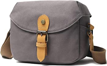 Small Camera Bag SLR/DSLR Shoulder Bag Canvas Waterproof Digital Camera for Sony, Canon, (Gray)
