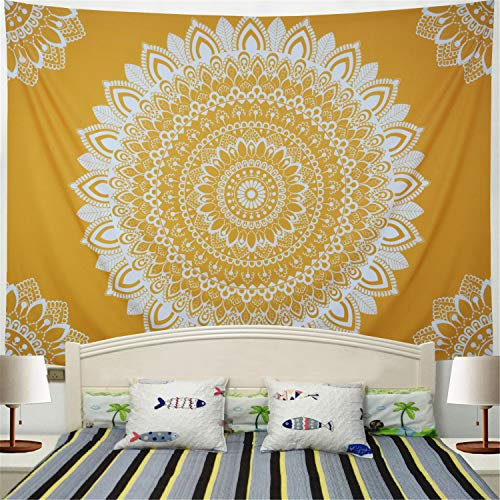 Racunbula Mandala Tpaestry Yellow Bohemian Tapestry Psychedelic Hippie Flower Tapestry Wall Hanging for Living Room Bedroom H51.2×W59.1inches