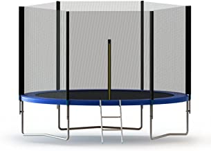 ALEKO TRP8 Trampoline Bouncer with Mesh Safety Net Enclosure Spring Pad and Ladder 8 Feet Black and Blue