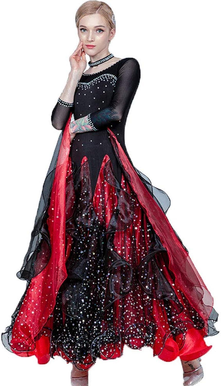Lyrical Dress Dance Costume Pleated Skirt See-through Mesh Ribbon Sequined Long Sleeve Maxi Dress For Ballroom Ballet Latin Waltz Rumba