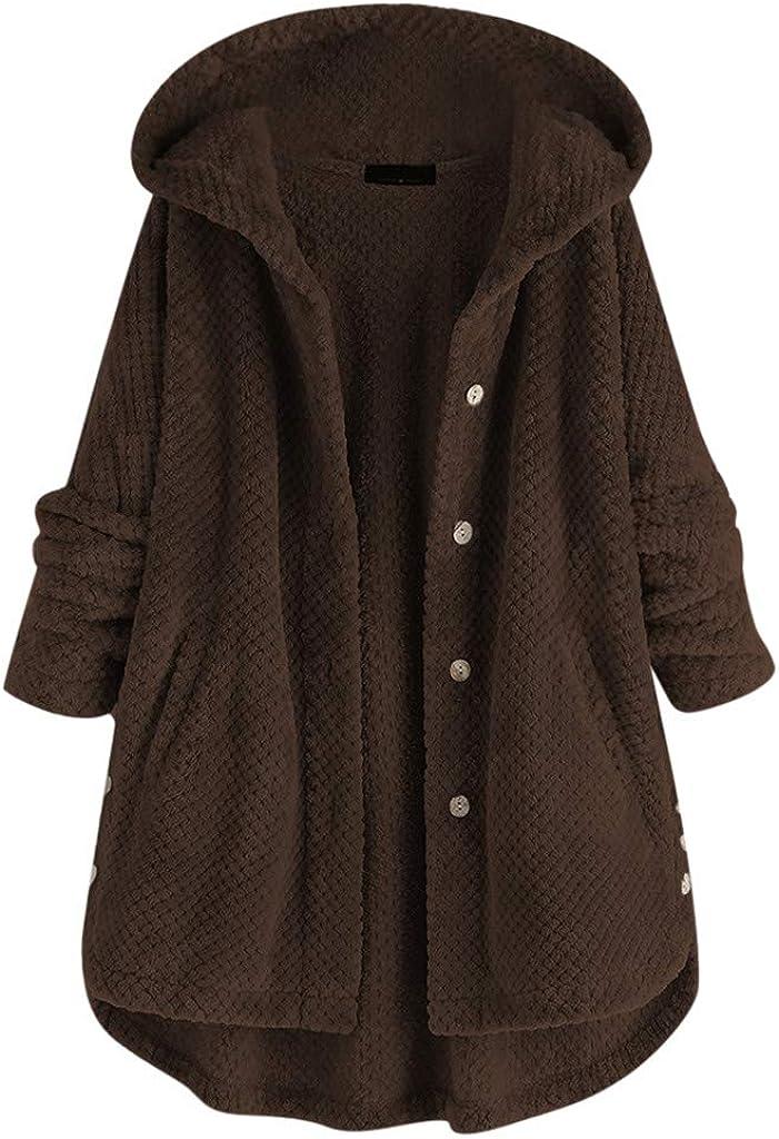 Womens Hooded Warm Winter Thicken Fuzzy Fleece Teddy Coat High Low Hem Plus Size Outwear Button Jacket Side Split
