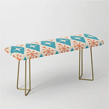 Mid Century Modern Atomic Triangle Pattern 107 by Tony Magner on Bench/Ottoman - Gold
