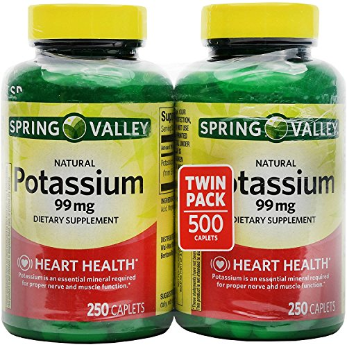 Spring Valley Potassium 99 mg from Potassium Gluconate 595 mg (2 Bottles of 250 Caplets)