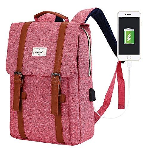 Teimose Mochila portátil de 15,6 Pulgadas con Puerto de Carga USB, iCasso Ligero Funcional Durable Nylon Bolsa de portátil de Viaje