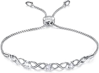 Womens 925 Sterling Silver Bracelet Jewelry Adjustable Women Cubic Zirconia Bolo Bracelet with Sparkling Round-Cut Zirconia in White Gold Plated Gifts for Women Teen Girls