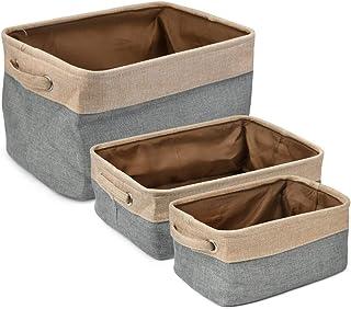 POKIENE 3 Paniers de Rangement Taille S/M/L | Boîtes de Rangement en Lin Coton Paniers de Rangement Pliables, Tissu Panier...