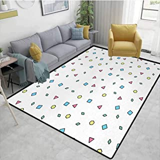 90s Area Floor Rugs Colorful Mosaic Pattern with Geometric Shapes in Memphis Style Artistic Doodle Print Dining Room Home Bedroom W78 x L94 Blue Green