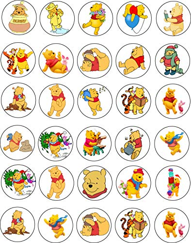 30 x Edible Cupcake Toppers Themed of Winnie the Pooh Collection of Edible Cake Decorations | Uncut Edible on Wafer Sheet