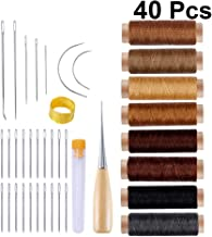 Milisten 40pcs Leather Hand Sewing Craft Tools Set Professional Waxed Thread Stitching Needle Thimble Upholstery Repair Kit for DIY Leathercraft Projects