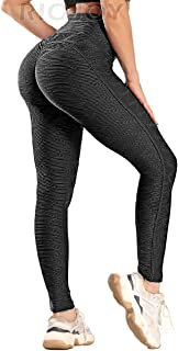 RIOJOY Women Anti Cellulite Leggings High Waist Honeycomb Scrunch Butt Lift Compression Yoga Pants
