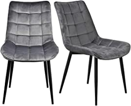 Kitchen Dining Chairs Set of 2 Velvet Leisure Side Chairs Grey Modern Dining Padded Chairs with Metal Legs for Dining Area...