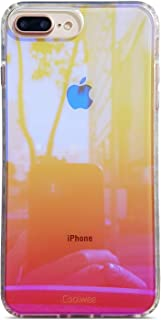 Coolwee iPhone 8 Plus case,Clear Case for iPhone 7 Plus iPhone 6 Plus iPhone 6s Plus Gradient Colorful Shockproof Iridescent Cover TPU Bumper Hard Protective for iPhone 8 Plus Aurora Series Pink