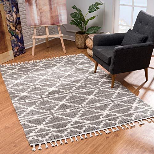 MyShop24 Teppich Wohnzimmer Shaggy - Grau Creme 140x200cm - Deko Schlafzimmer Hochflor mit Fransen...