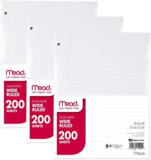 """Mead Loose Leaf Paper, Filler Paper, Wide Ruled, 200 Sheets, 10-1/2"""" x 8"""", 3 Hole Punched, 3 Pack (73183)"""
