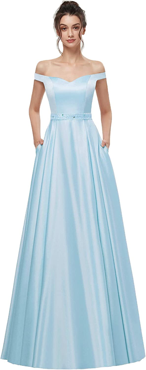AnnaBride Women's Long Off The Shoudler Beads Formal Prom Party Dresses with Pockets Evening Party Gowns Baby bluee 04