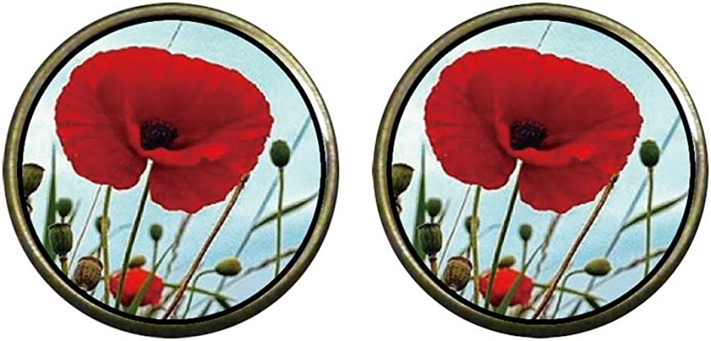 GiftJewelryShop Bronze Retro Style red poppies Photo Clip On Earrings 16mm Diameter