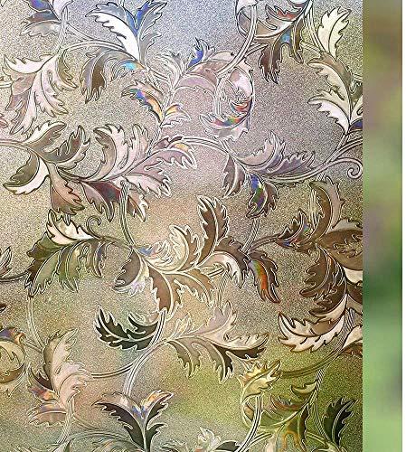LMKJ Película de Ventana esmerilada de Hierba de Hoja de Plata 3D no Adhesiva Decorativa electrostática película de Vidrio de privacidad de Mantenimiento Fresco A87 45x200cm