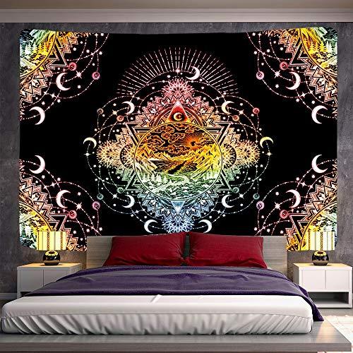 KHKJ Escena psicodélica decoración del hogar Mandala Tapiz Colgante de Pared hechicería Tapiz Bohemia Hoja Decorativa sofá Manta A1 95x73cm