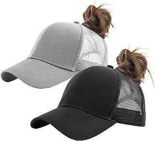 IZUS Solid Ponytail Hat Baseball Cap Cotton Mesh High Bun Pony Cap Women