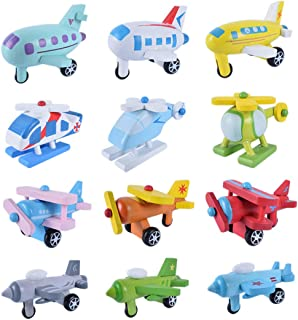 Joyibay 12PCS Kids Wooden Transportation Toy Mini Airplane Car Puzzle Toy for Toddler