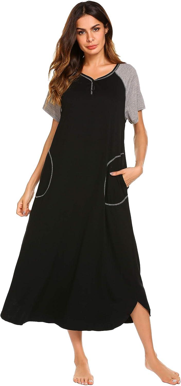 Ekouaer Women's Nightgown V-Neck Loungewear Sleeve Sleepwea Selling and selling Mesa Mall Long