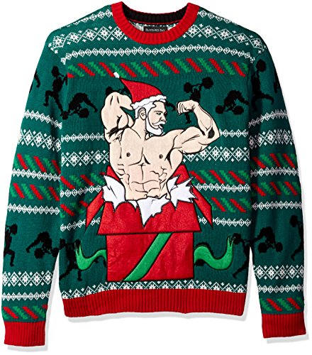 Blizzard Bay Men's Battle Ropes Santa Ugly Christmas Sweater, Blue/Red, Large