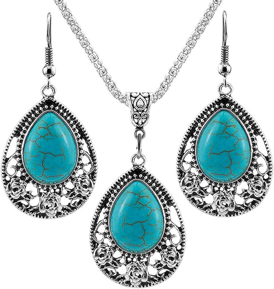bjduck99 3Pcs/Set Women Vintage Faux Turquoise Turtle Drop Leaf Pendant Earrings Jewelry - 3#