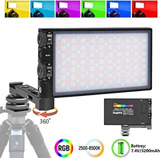 Hagibis RGB LED Video Light, with Built-in Rechargeable Battery,Portable On Camera Light Panel with Aluminium Alloy Body,360° Full Color,CRI/TLCI=97 2500-8500K,12 Lighting Effect Modes