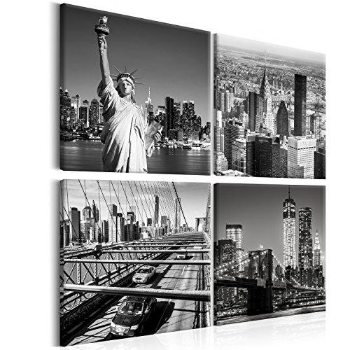 murando Impression sur Toile intissee New York 40x40 cm 4 Parties Tableau Tableaux Decoration Murale Photo Image Artistique Photographie Graphique Ville City Noir Blanc d-B-0176-b-i